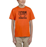 I fish because punching people is frowned upon Black Kids T Shirt-T Shirts-Gildan-Orange-YXS (3-5 Year)-Daataadirect