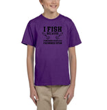 I fish because punching people is frowned upon Black Kids T Shirt-T Shirts-Gildan-Purple-YXS (3-5 Year)-Daataadirect