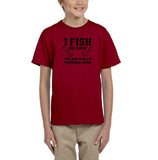 I fish because punching people is frowned upon Black Kids T Shirt-T Shirts-Gildan-Red-YXS (3-5 Year)-Daataadirect