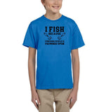 I fish because punching people is frowned upon Black Kids T Shirt-T Shirts-Gildan-Sapphire-YXS (3-5 Year)-Daataadirect