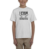 I fish because punching people is frowned upon Black Kids T Shirt-T Shirts-Gildan-White-YXS (3-5 Year)-Daataadirect