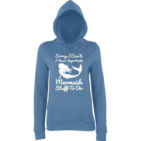 "I HAVE IMPORTANT MERMAID STUFF TO DO Women Hoodies White-Hoodies-AWD-Airforce Blue-XS UK 8 Euro 32 Bust 30""-Daataadirect"