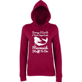 "I HAVE IMPORTANT MERMAID STUFF TO DO Women Hoodies White-Hoodies-AWD-Burgundy-XS UK 8 Euro 32 Bust 30""-Daataadirect"