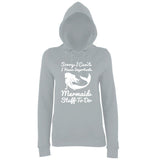 "I HAVE IMPORTANT MERMAID STUFF TO DO Women Hoodies White-Hoodies-AWD-Heather Grey-XS UK 8 Euro 32 Bust 30""-Daataadirect"