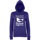 "I HAVE IMPORTANT MERMAID STUFF TO DO Women Hoodies White-Hoodies-AWD-Purple-XS UK 8 Euro 32 Bust 30""-Daataadirect"