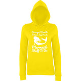 "I HAVE IMPORTANT MERMAID STUFF TO DO Women Hoodies White-Hoodies-AWD-Sun Yellow-XS UK 8 Euro 32 Bust 30""-Daataadirect"