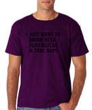 "I just want to take beer play guitar and take naps Black mens T Shirt-T Shirts-Gildan-Purple-S To Fit Chest 36-38"" (91-96cm)-Daataadirect"