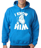 "I know him Mens Hoodies White-Hoodies-Gildan-antique sapphire -S To Fit Chest 36-38"" (91-96cm)-Daataadirect"