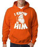 "I know him Mens Hoodies White-Hoodies-Gildan-orange-S To Fit Chest 36-38"" (91-96cm)-Daataadirect"