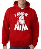 "I know him Mens Hoodies White-Hoodies-Gildan-red-S To Fit Chest 36-38"" (91-96cm)-Daataadirect"