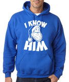 "I know him Mens Hoodies White-Hoodies-Gildan-royal-S To Fit Chest 36-38"" (91-96cm)-Daataadirect"