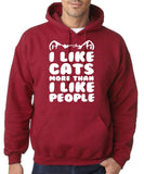 "I Like Cats More Than I Like People Men Hoodies White-Hoodies-Gildan-Antique Cherry-S To Fit Chest 36-38"" (91-96cm)-Daataadirect"