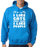 "I Like Cats More Than I Like People Men Hoodies White-Hoodies-Gildan-Antique Sapphire-S To Fit Chest 36-38"" (91-96cm)-Daataadirect"