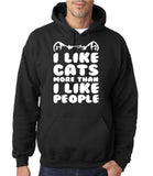 "I Like Cats More Than I Like People Men Hoodies White-Hoodies-Gildan-Black-M To Fit Chest 38-40"" (96-101cm)-Daataadirect"