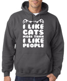 "I Like Cats More Than I Like People Men Hoodies White-Hoodies-Gildan-Charcoal-S To Fit Chest 36-38"" (91-96cm)-Daataadirect"