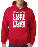 "I Like Cats More Than I Like People Men Hoodies White-Hoodies-Gildan-Cherry Red-S To Fit Chest 36-38"" (91-96cm)-Daataadirect"