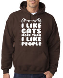 "I Like Cats More Than I Like People Men Hoodies White-Hoodies-Gildan-Dk Chocolate-S To Fit Chest 36-38"" (91-96cm)-Daataadirect"