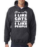 "I Like Cats More Than I Like People Men Hoodies White-Hoodies-Gildan-Dk Heather-S To Fit Chest 36-38"" (91-96cm)-Daataadirect"