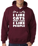 "I Like Cats More Than I Like People Men Hoodies White-Hoodies-Gildan-Garmet-S To Fit Chest 36-38"" (91-96cm)-Daataadirect"