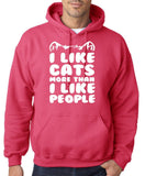 "I Like Cats More Than I Like People Men Hoodies White-Hoodies-Gildan-Heliconia-S To Fit Chest 36-38"" (91-96cm)-Daataadirect"