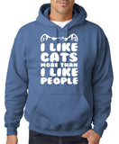 "I Like Cats More Than I Like People Men Hoodies White-Hoodies-Gildan-Indigo Blue-S To Fit Chest 36-38"" (91-96cm)-Daataadirect"