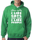 "I Like Cats More Than I Like People Men Hoodies White-Hoodies-Gildan-Irish Green-S To Fit Chest 36-38"" (91-96cm)-Daataadirect"