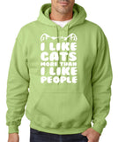 "I Like Cats More Than I Like People Men Hoodies White-Hoodies-Gildan-Kiwi-S To Fit Chest 36-38"" (91-96cm)-Daataadirect"