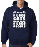 "I Like Cats More Than I Like People Men Hoodies White-Hoodies-Gildan-Navy Blue-S To Fit Chest 36-38"" (91-96cm)-Daataadirect"