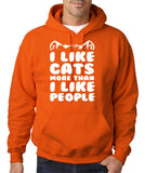 "I Like Cats More Than I Like People Men Hoodies White-Hoodies-Gildan-Orange-S To Fit Chest 36-38"" (91-96cm)-Daataadirect"
