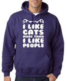 "I Like Cats More Than I Like People Men Hoodies White-Hoodies-Gildan-Purple-S To Fit Chest 36-38"" (91-96cm)-Daataadirect"