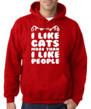 "I Like Cats More Than I Like People Men Hoodies White-Hoodies-Gildan-Red-S To Fit Chest 36-38"" (91-96cm)-Daataadirect"