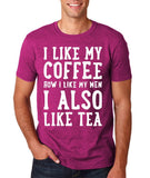 "I like my coffee how I like men , I also like tea Men T Shirt White-T Shirts-Gildan-Antique Heliconia-S To Fit Chest 36-38"" (91-96cm)-Daataadirect"
