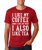 "I like my coffee how I like men , I also like tea Men T Shirt White-T Shirts-Gildan-Cardinal-S To Fit Chest 36-38"" (91-96cm)-Daataadirect"