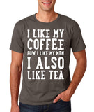 "I like my coffee how I like men , I also like tea Men T Shirt White-T Shirts-Gildan-Charcoal-S To Fit Chest 36-38"" (91-96cm)-Daataadirect"
