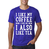 "I like my coffee how I like men , I also like tea Men T Shirt White-T Shirts-Gildan-Cobalt-S To Fit Chest 36-38"" (91-96cm)-Daataadirect"