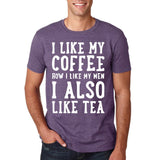 "I like my coffee how I like men , I also like tea Men T Shirt White-T Shirts-Gildan-Heather Purple-S To Fit Chest 36-38"" (91-96cm)-Daataadirect"