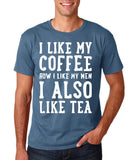 "I like my coffee how I like men , I also like tea Men T Shirt White-T Shirts-Gildan-Indigo Blue-S To Fit Chest 36-38"" (91-96cm)-Daataadirect"