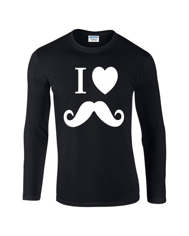 "I Love Mustache Mens Long SleeveT Shirt White-Long Sleeve T Shirts-Gildan-black-S To Fit Chest 36-38"" (91-96cm)-Daataadirect"