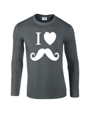 "I Love Mustache Mens Long SleeveT Shirt White-Long Sleeve T Shirts-Gildan-charcoal-S To Fit Chest 36-38"" (91-96cm)-Daataadirect"