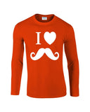 "I Love Mustache Mens Long SleeveT Shirt White-Long Sleeve T Shirts-Gildan-orange-S To Fit Chest 36-38"" (91-96cm)-Daataadirect"