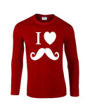 "I Love Mustache Mens Long SleeveT Shirt White-Long Sleeve T Shirts-Gildan-red-S To Fit Chest 36-38"" (91-96cm)-Daataadirect"