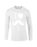 "I Love Mustache Mens Long SleeveT Shirt White-Long Sleeve T Shirts-Gildan-white-S To Fit Chest 36-38"" (91-96cm)-Daataadirect"