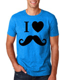 "I Love Mustache Mens T Shirt Black-T Shirts-Gildan-Antique Sapphire-S To Fit Chest 36-38"" (91-96cm)-Daataadirect"