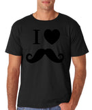 "I Love Mustache Mens T Shirt Black-T Shirts-Gildan-Black-S To Fit Chest 36-38"" (91-96cm)-Daataadirect"