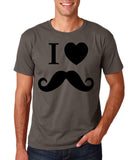 "I Love Mustache Mens T Shirt Black-T Shirts-Gildan-Charcoal-S To Fit Chest 36-38"" (91-96cm)-Daataadirect"