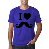 "I Love Mustache Mens T Shirt Black-T Shirts-Gildan-Cobalt-S To Fit Chest 36-38"" (91-96cm)-Daataadirect"