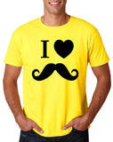 "I Love Mustache Mens T Shirt Black-T Shirts-Gildan-Daisy-S To Fit Chest 36-38"" (91-96cm)-Daataadirect"
