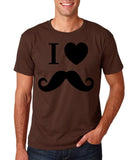 "I Love Mustache Mens T Shirt Black-T Shirts-Gildan-Dk Chocolate-S To Fit Chest 36-38"" (91-96cm)-Daataadirect"