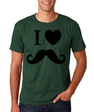 "I Love Mustache Mens T Shirt Black-T Shirts-Gildan-Forest Green-S To Fit Chest 36-38"" (91-96cm)-Daataadirect"