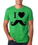"I Love Mustache Mens T Shirt Black-T Shirts-Gildan-Heather Irish Green-S To Fit Chest 36-38"" (91-96cm)-Daataadirect"